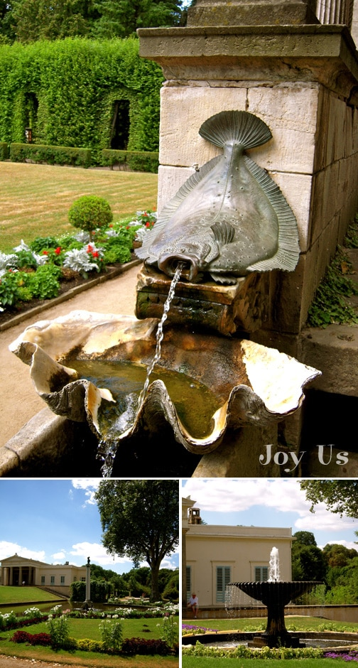 Water features, garden pond of a famous palace located in Sansoucci Park in Potsdam, Germany.