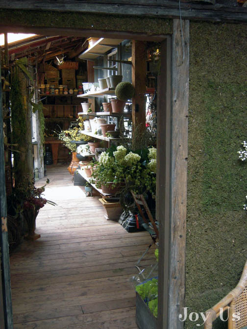 An outside view of Shakespeare's garden shop.