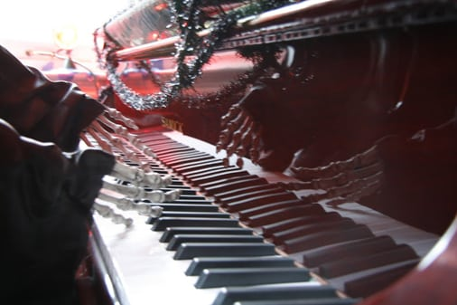 The skeleton's hands on the piano