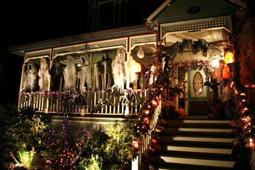 The ghosts illuminated at night