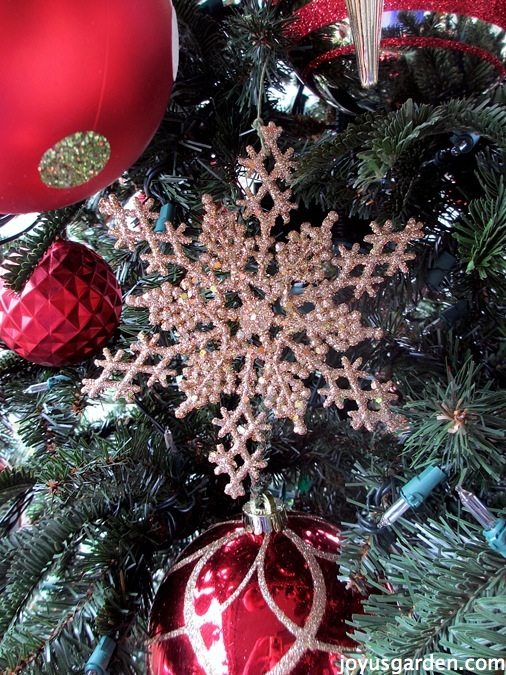 Glitter snowflake on a tree
