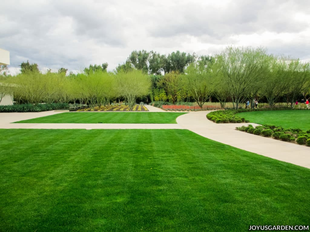 a bright green lawn with dirt walkways & trees in the background