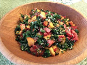 Peach and quinoa salad