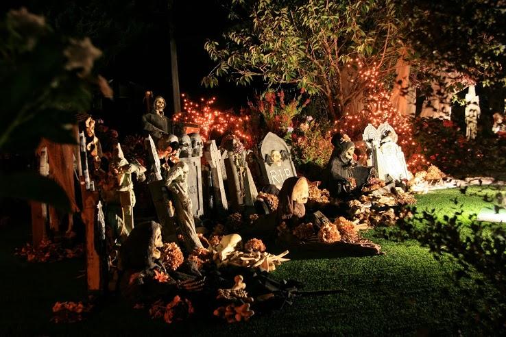 Halloween garden full of gravestones