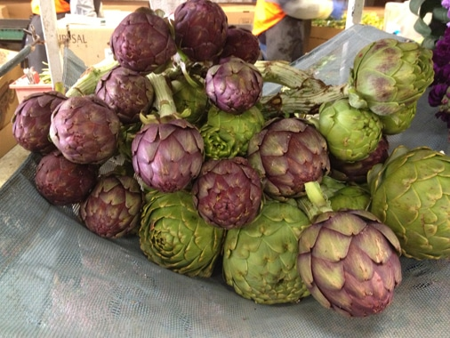 Gorgeous artichokes- purples and greens