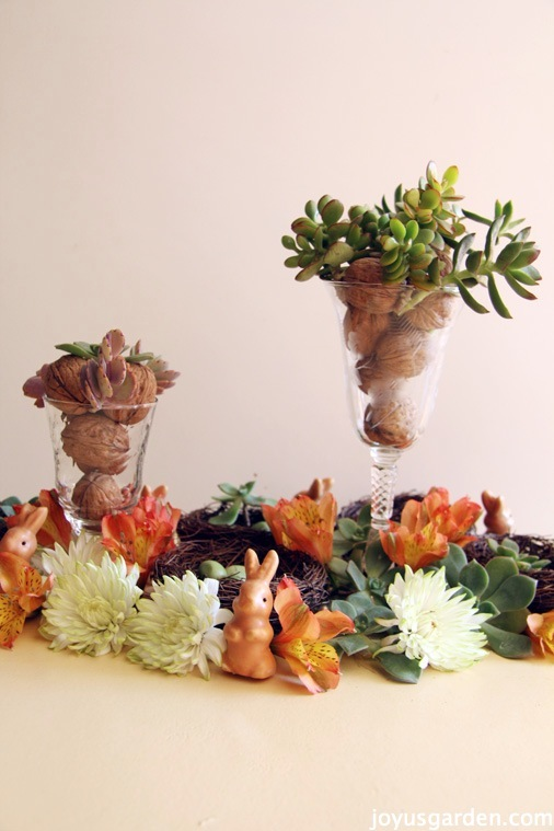 A Spring Tablescape with Succulents and Flowers for the Easter Table