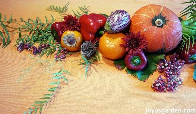 One side of the fall centerpiece with fall accents