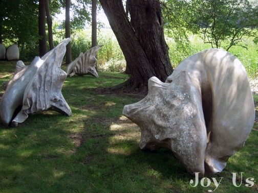 Large shell sculptures at Studio 80 and Sculpture Ground