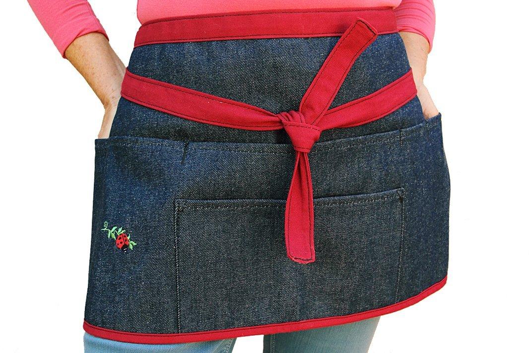 Denim Waist Apron With Pockets