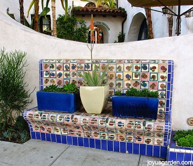 Brilliant blue tile bench