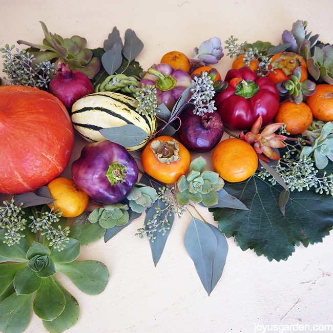 Begin tucking leaves into the produce