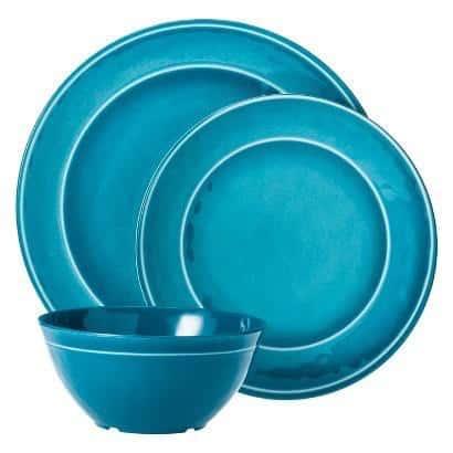Aqua melamine dinnerware