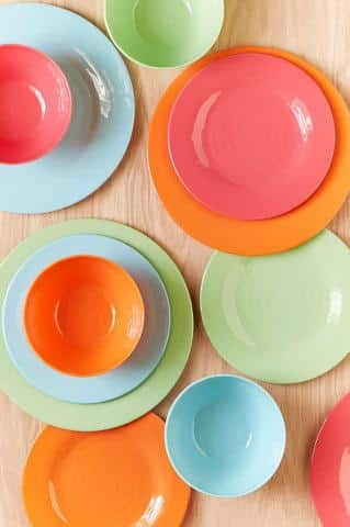 12-Piece Bright Solids Melamine Dinnerware Set & Melamine Plates For Outdoor Gatherings - |