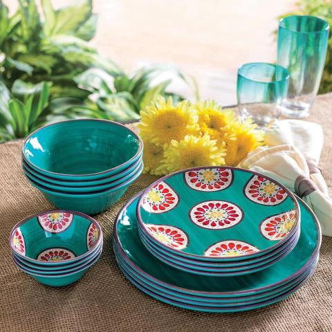 Melamine Dinnerware 16-Piece Set outdoor indoor & Melamine Plates For Outdoor Gatherings - |