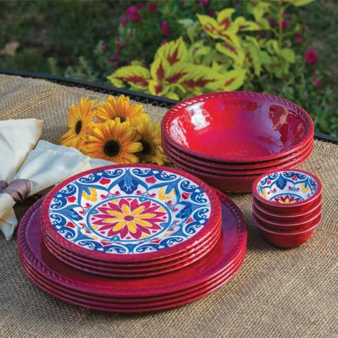 16 Piece Indoor Outdoor Melamine Dinnerware Set Red