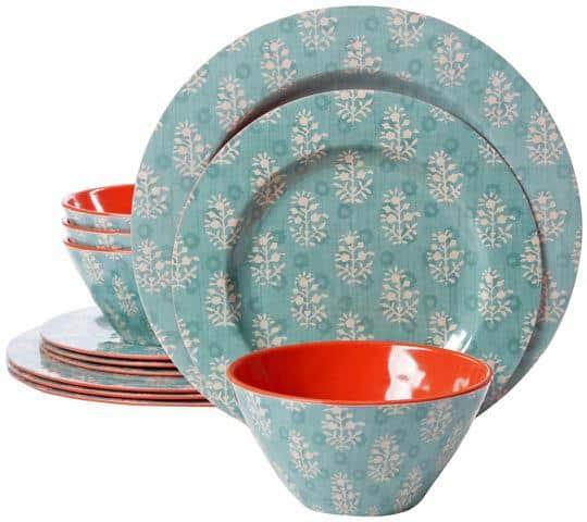 Blue and white decorative melamine dinnerware