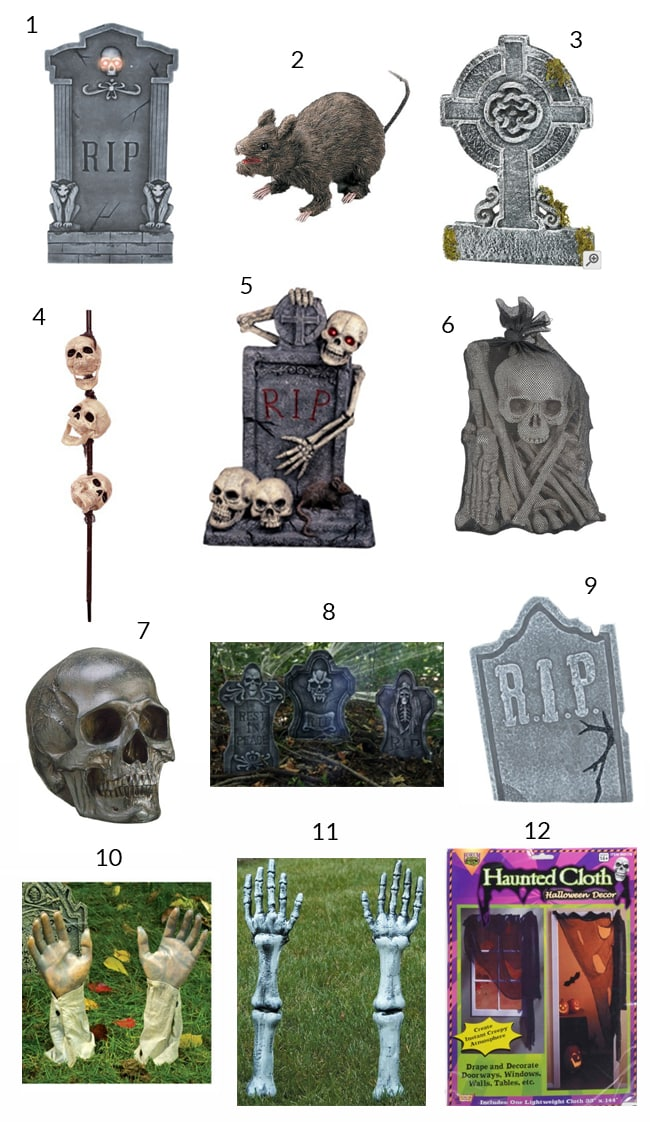 props & materials needed to create a spooky halloween graveyard scene numbered in a collage