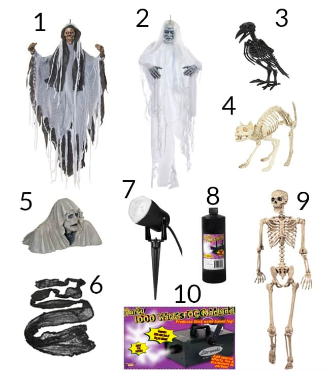 decorations & materials to create a spooky halloween graveyard scene numbered in a collage