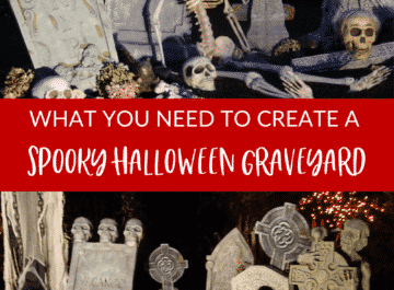 a halloween graveyard with text that reads what you need to create a spooky halloween graveyard