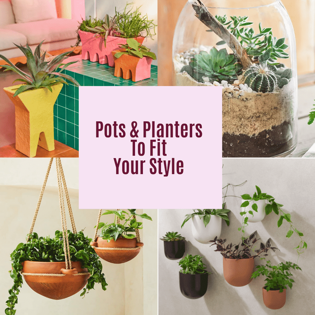 a collage of 4 different planters with plants in them the text reads pots & planters to fit your style
