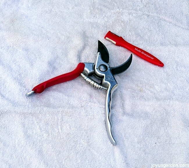 a pair of felco pruners sit on a white towel with a small sharpening tool