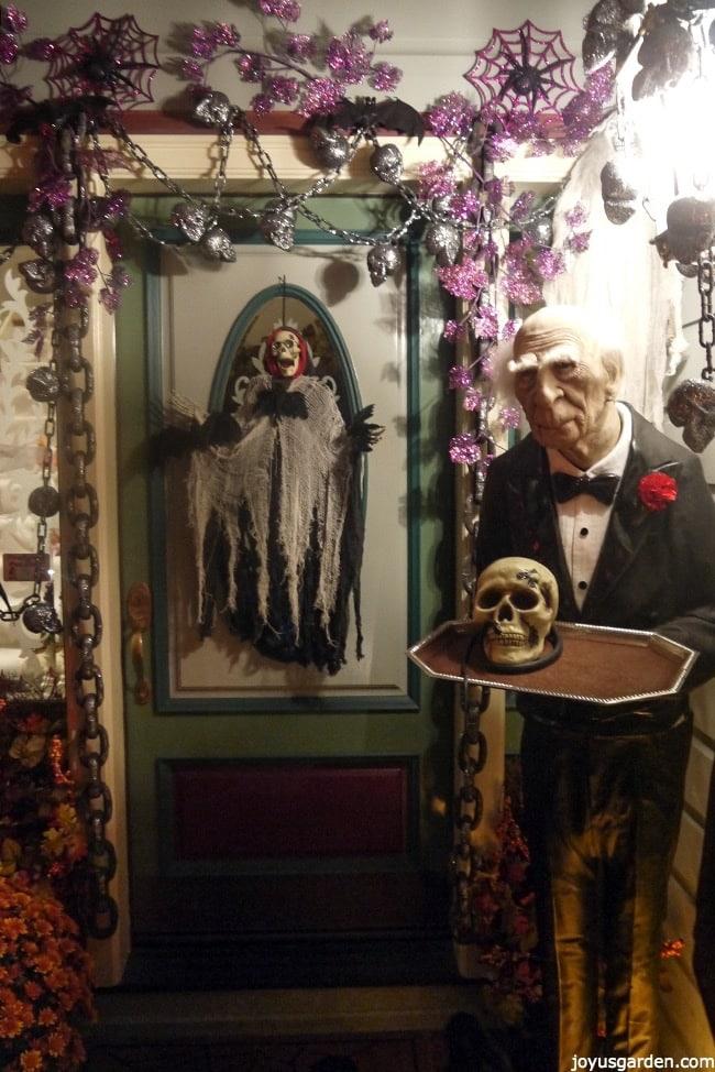 Front door Halloween display