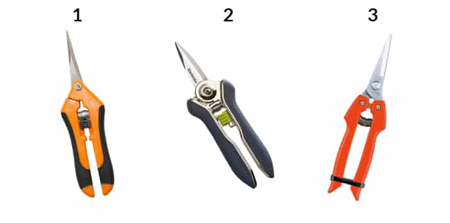 3 floral snips in a row all numbered so you can buy them online