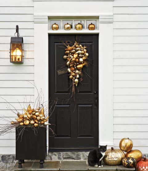 Gold pumpkin porch