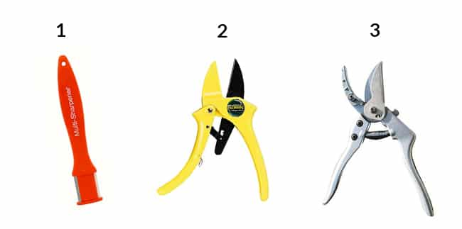 a sharpening tool, rachet pruners & grab & hold pruners all numbered so you can buy them online