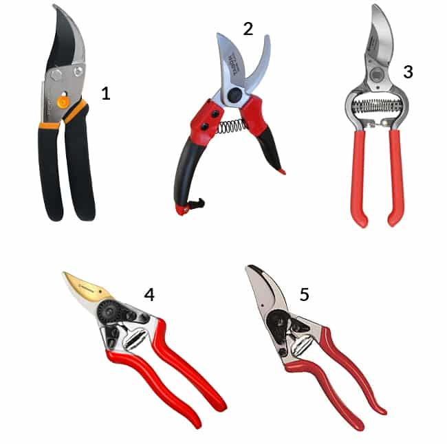 5 different pruners all  numbered so you can buy them online