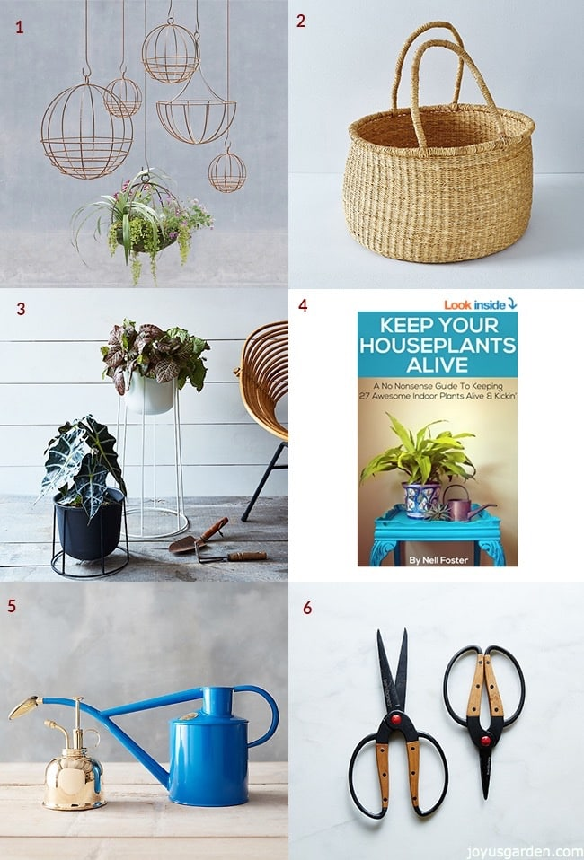 Collage with gifts for indoor gardeners and houseplant lovers includes hanging wire baskets, big woven basket, plant stand, houseplant care book, watering cans & scissors