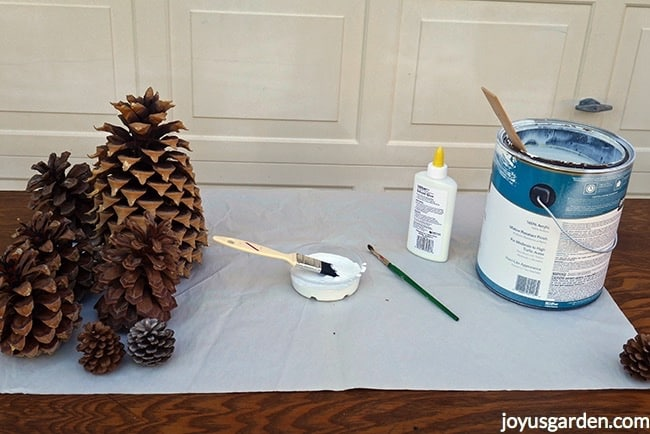 An assortment of pine cones sit next to a dish filled with paint & glue. Also on the table are a container of glue & a can of house paint
