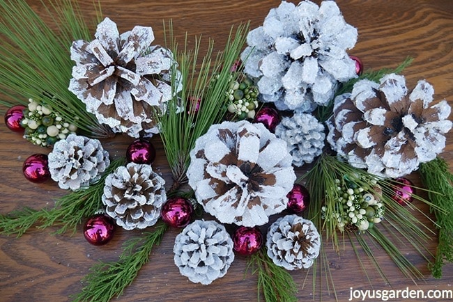 close up of white glittered pine cones accented with glass balls, berry balls & evergreens branches