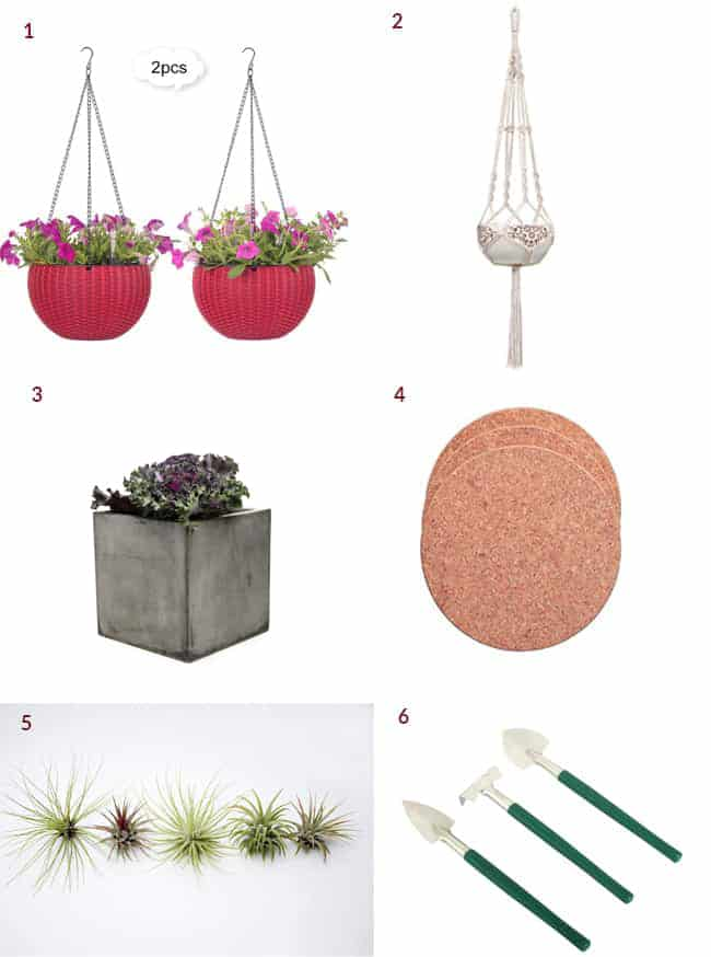 a collage showing gifts for houseplant lovers which includes red hanging pots, a macrame hanger, square cement planters, cork mats, air plants & a mini trowel set