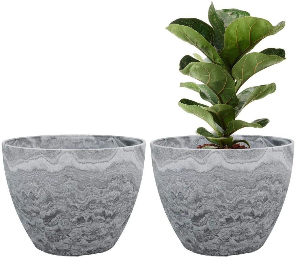 2 faux grey/white marble plant pots