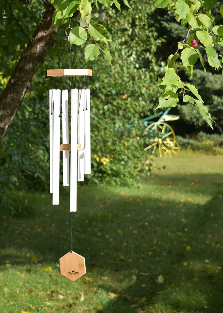 wind chimes hanging from a tree
