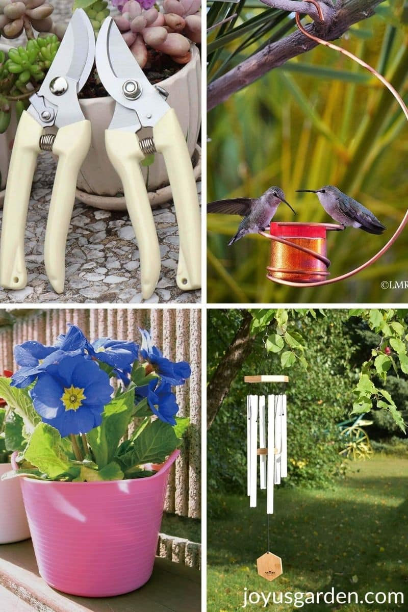a collage showing 4 garden gift ideas for mom 2 pairs of pruners a hummingbird feeder tub trugs & wind chimes