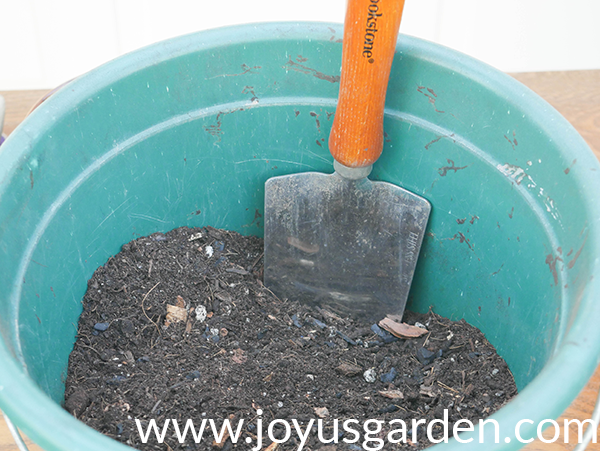 a teal blue pail with soil mix in it holds a submerged trowel
