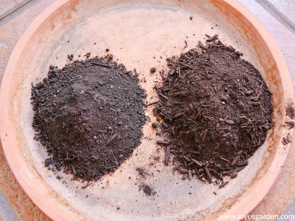 a terra cotta saucer holds a pile of worm compost & a pile of compost