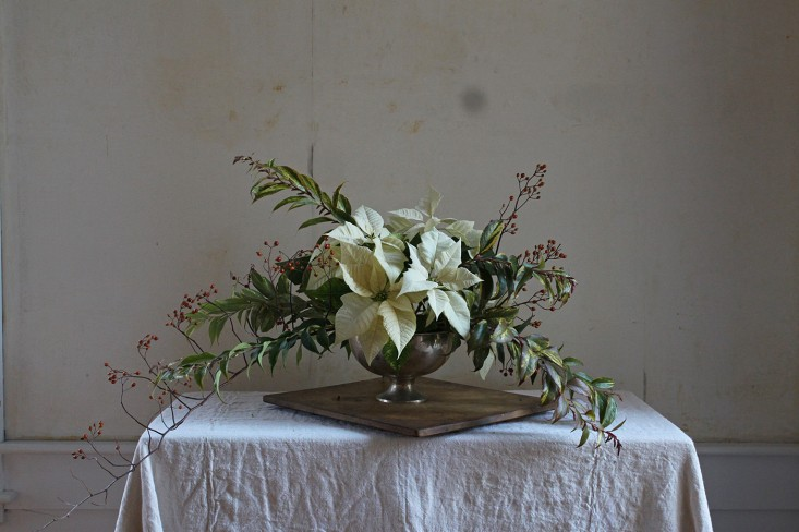 a beautiful & natural centerpiece showcasing white poinsettias