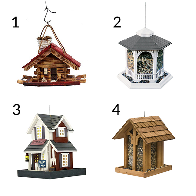 A variety of bird feeders