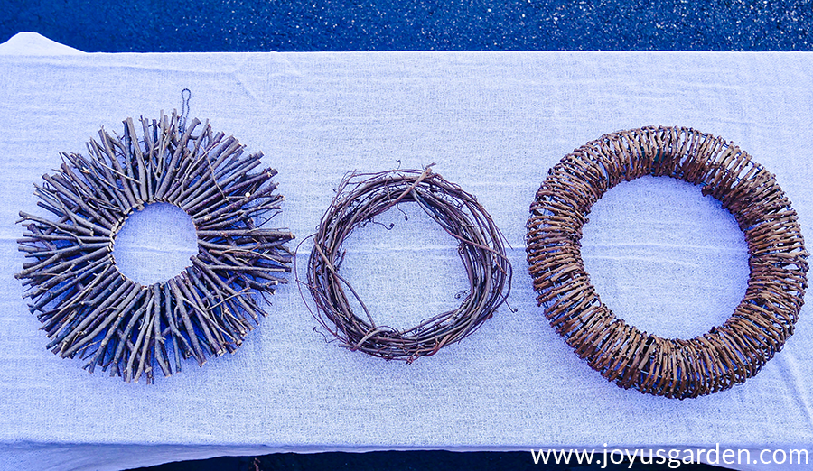 close up of 3 different types of vine & twig wreaths