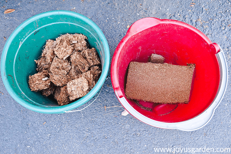 blocks of coco fiber & coco chips in a teal pail & a red pail