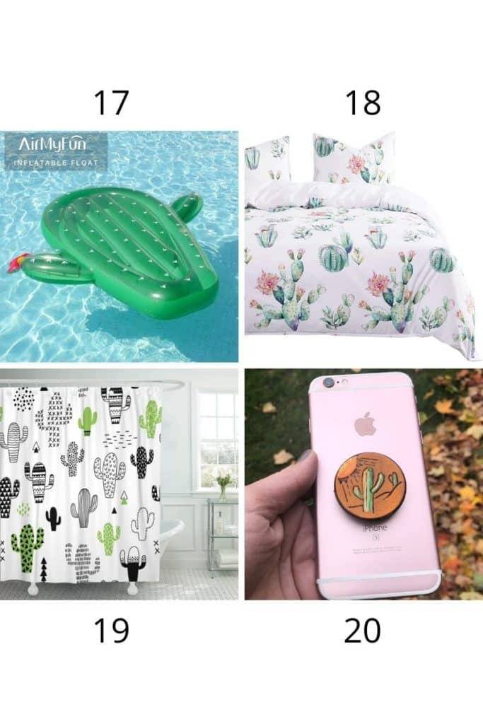 cactus  pool toy, cactus bedding, cactus shower curtain, and cactus pop socket