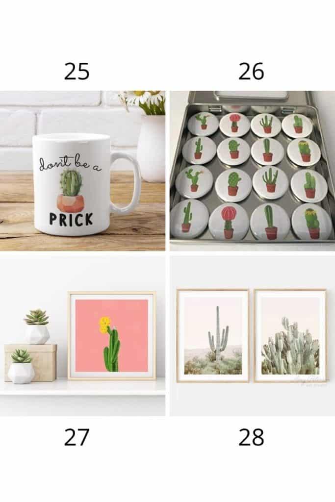 cactus mug and cactus art