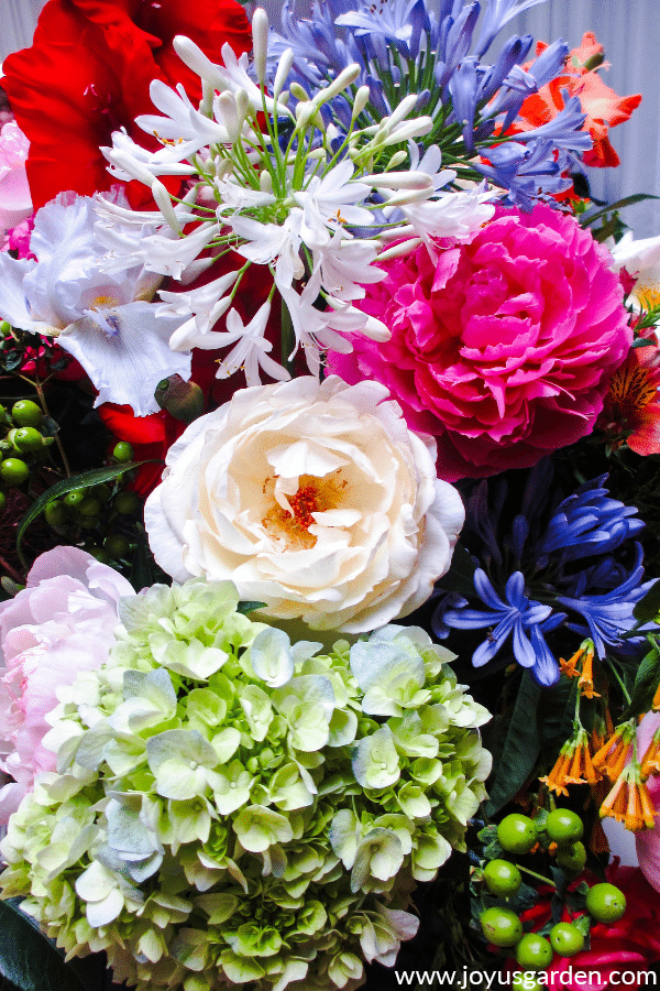 close up of a beautiful arrangement of garden flowers