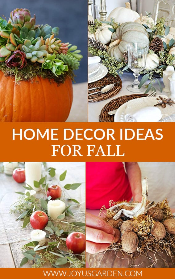 a collage with photos of 4 fall decorating ideas the text in the middle reads home decor ideas for fall
