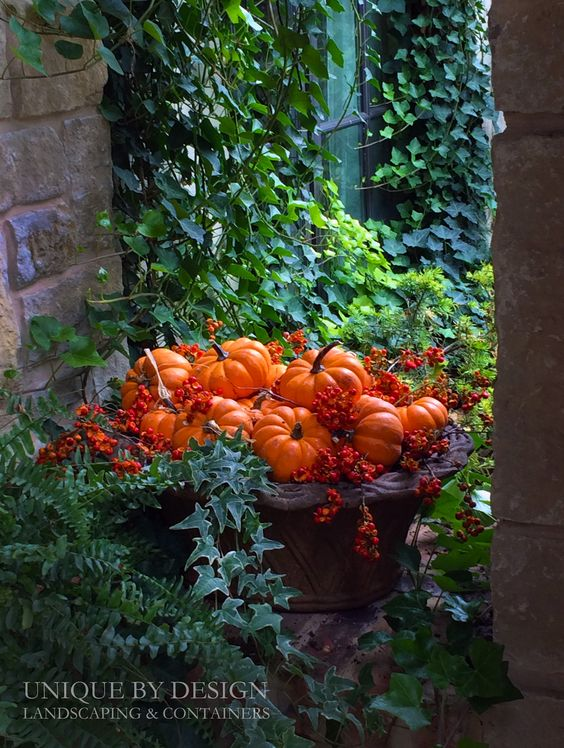 an outdoor planter filled with orange pumpkins & bittersweet berries for fall