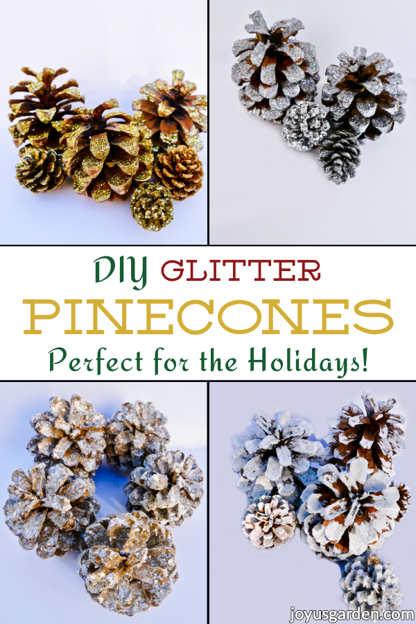 pinecones glittered 4 ways the text reads diy glitter pinecones perfect for the holidays