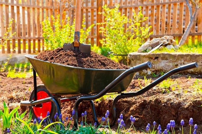 a small wheel barrow full of dirt holds a shovel in the garden